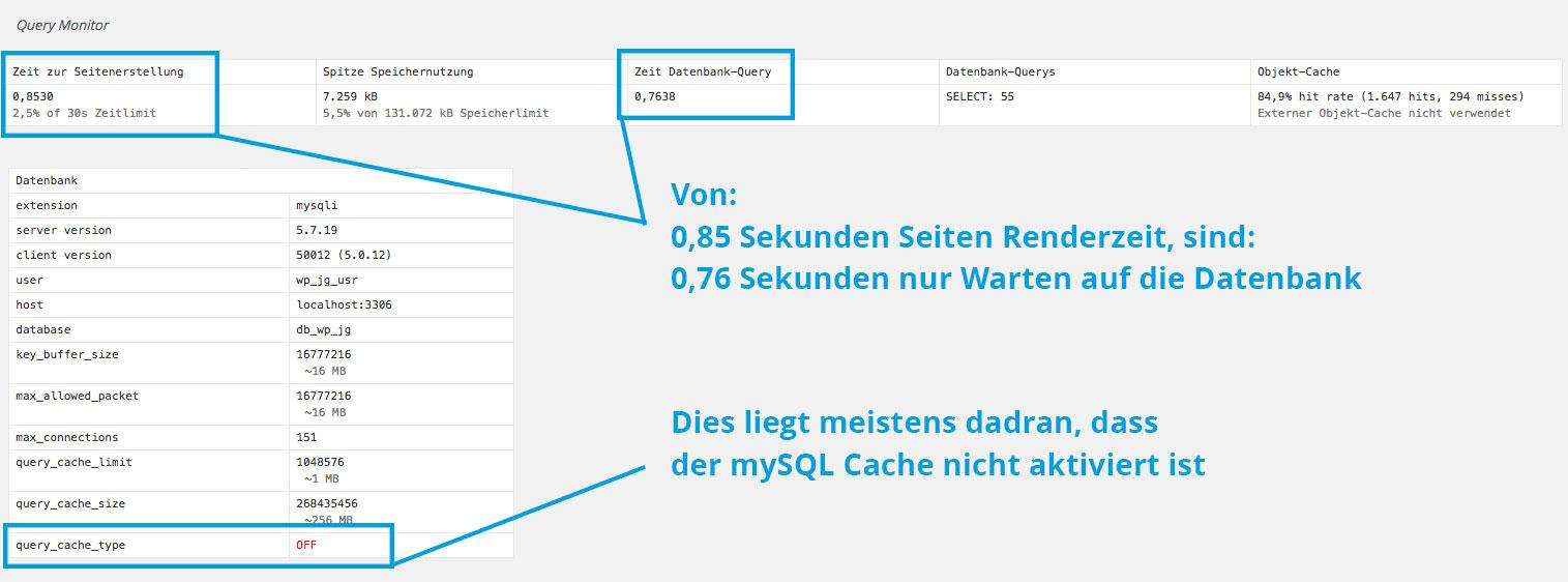 Schritt 01 : Prüfen ob mySQL Cache der Datenbank aktiviert ist  Johannes Ulrich Gehrke