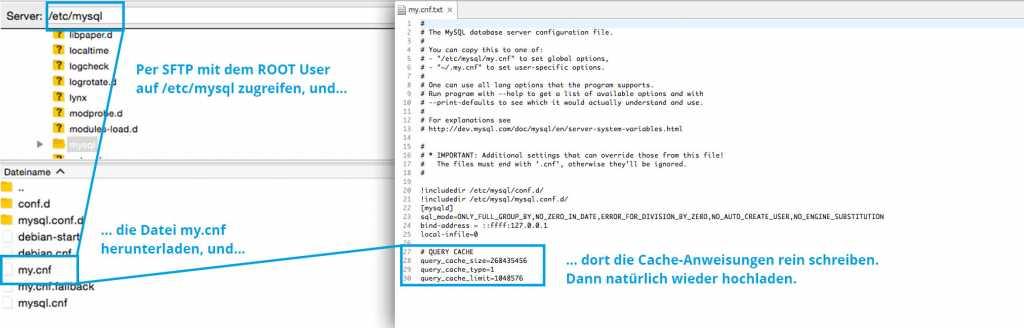 Schritt 2 : mySQL Konfiguration bearbeiten um Cache zu aktivieren |Johannes Ulrich Gehrke