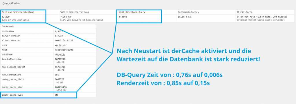 Schritt 03 : Kontrolle ob mySQL Datenbank Cache funktioniert |Johannes Ulrich Gehrke