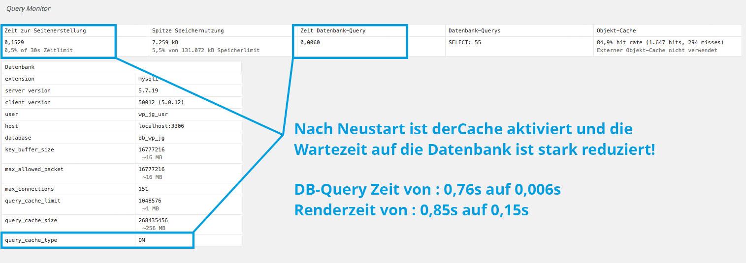 Schritt 03 : Kontrolle ob mySQL Datenbank Cache funktioniert  Johannes Ulrich Gehrke