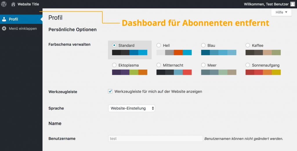 WordPress Backend ohne Dashboard für Abonnenten |Johannes Ulrich Gehrke
