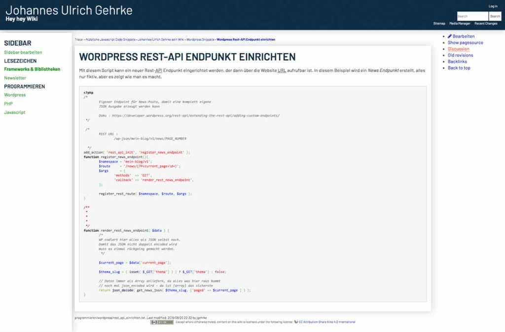Code & Links jetzt in meinem Wiki |Johannes Ulrich Gehrke